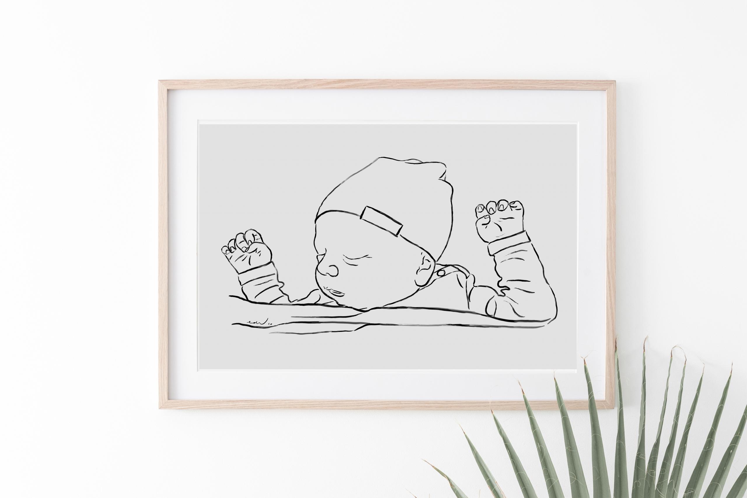 Persoonlijke tekening jongen baby